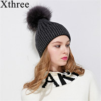 Xthree Fox Fur Pom Poms Knitted Hat Winter Hat For Women And Girl Beanie Hat