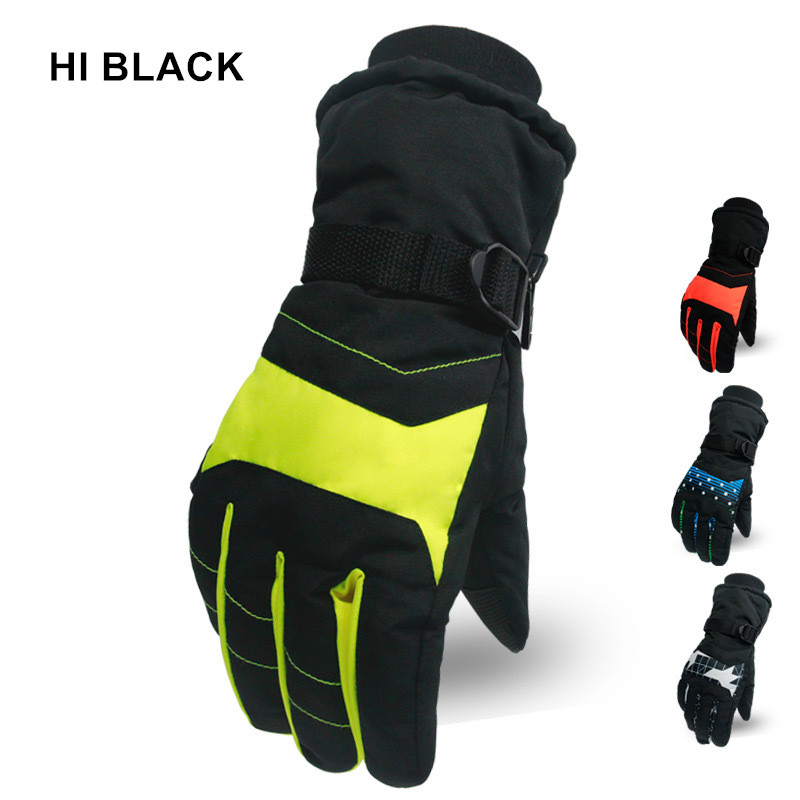 HI BLACK Ski Gloves For Men Women Boy Girl Chid Kids Snowboard Gloves Motorcycle Winter Skiing Climbing Waterproof Snow Gloves