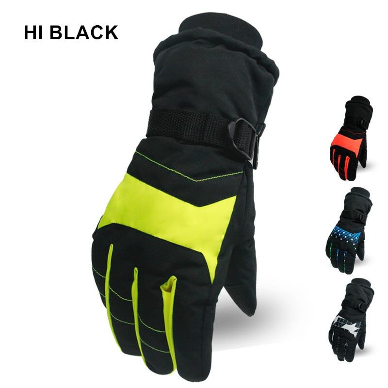 HI BLACK Ski Gloves For Men Women Boy Girl Chid Kids Snowboard Gloves Motorcycle Winter Skiing Climbing Waterproof Snow Gloves