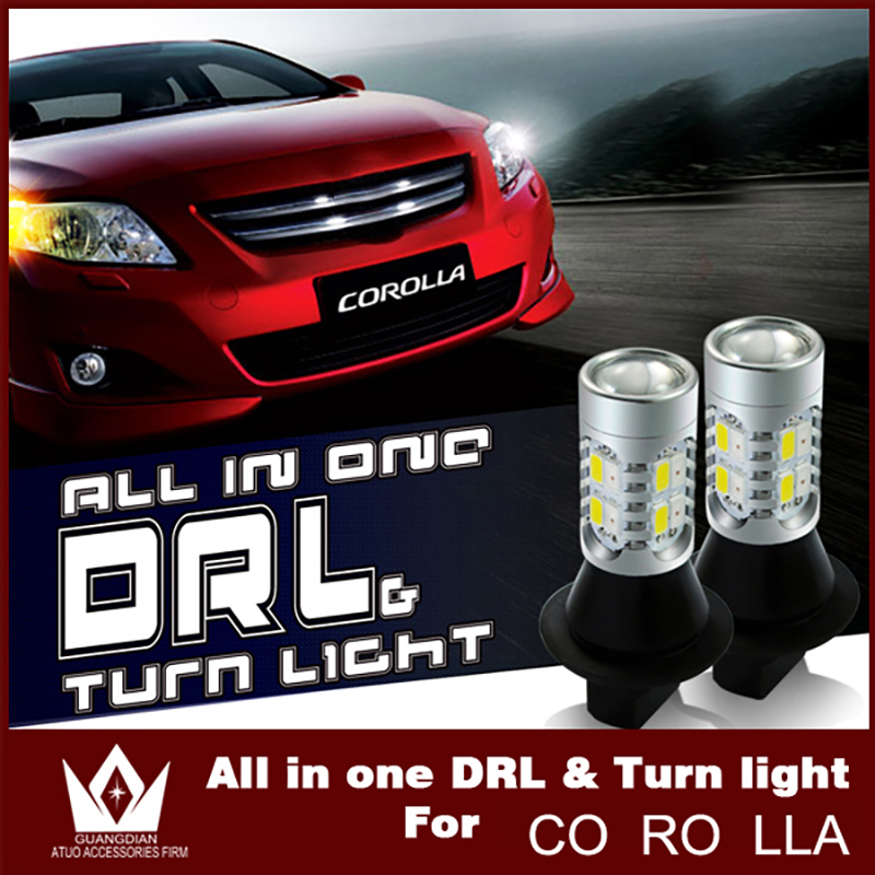 Guang Dian car led light Daytime Running Light with turn signal all in one 10W high btight 7440 T20 WY21W DRL For Toyota Corolla night lord for toyota reiz grx130 7440 t20 wy21w car led drl
