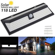 118 LED 3 Modes Solar Wall Light PIR Motion Sensor Solar Lamp Waterproof IP65 Infrared  Light for Park Security Es / erge Street