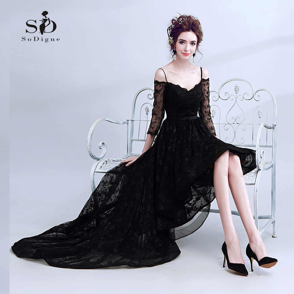 24f30da3cee Black Lace Evening Dress Hi Low Elegant A-line Women s Party Dress  Graduatin Party Dresses