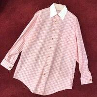 pink long blouse women summer 2018 long sleeve blouse fashion plaid blouse