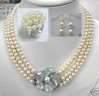 Graceful 3 Rows White Akoya Pearl 7 8mm Necklace Ring Earrings Jewelry Set wedding jewelry sets