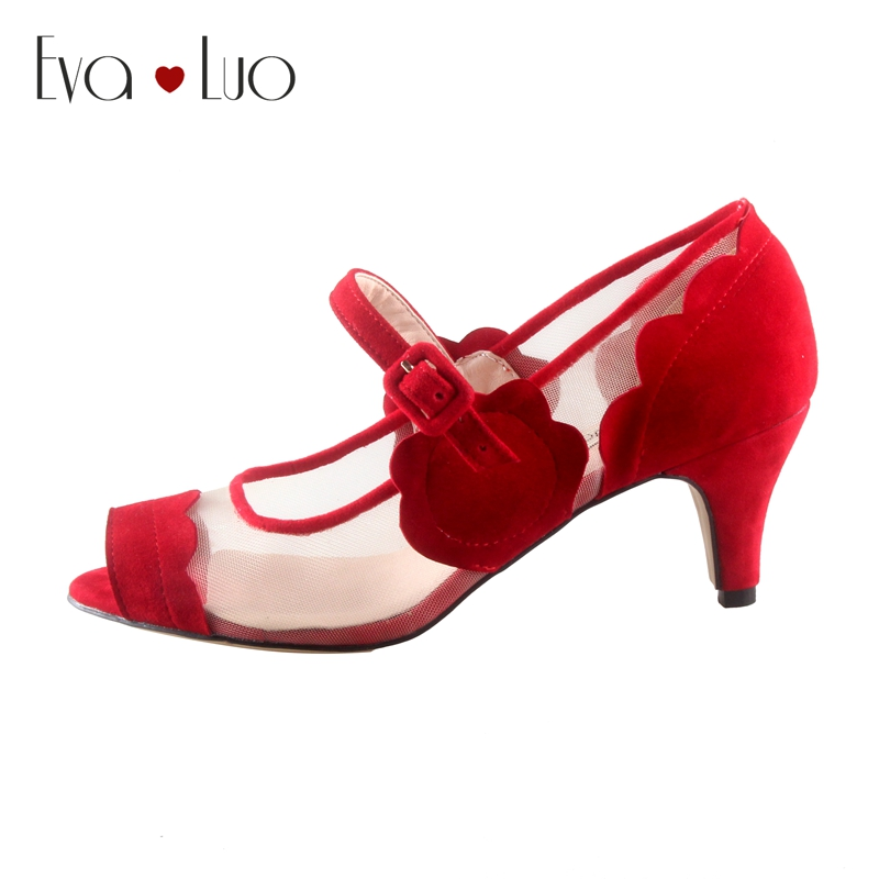 Red Low Heel Shoes Size