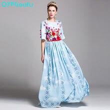 2017 Runway Women s Fashion Half Sleeve Maxi Dress Blue Floral Print Luxury Classy  Party Dress High 21a1a610388a