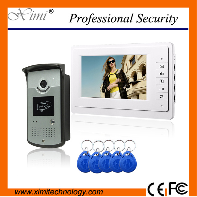 High quality smart card door access control system wired video intercom system 125KHZ RFID 1000 user card reader video intercom 125khz rfid smart card door access control system 1000 user id card reader 7 inch video door phone video intercom system