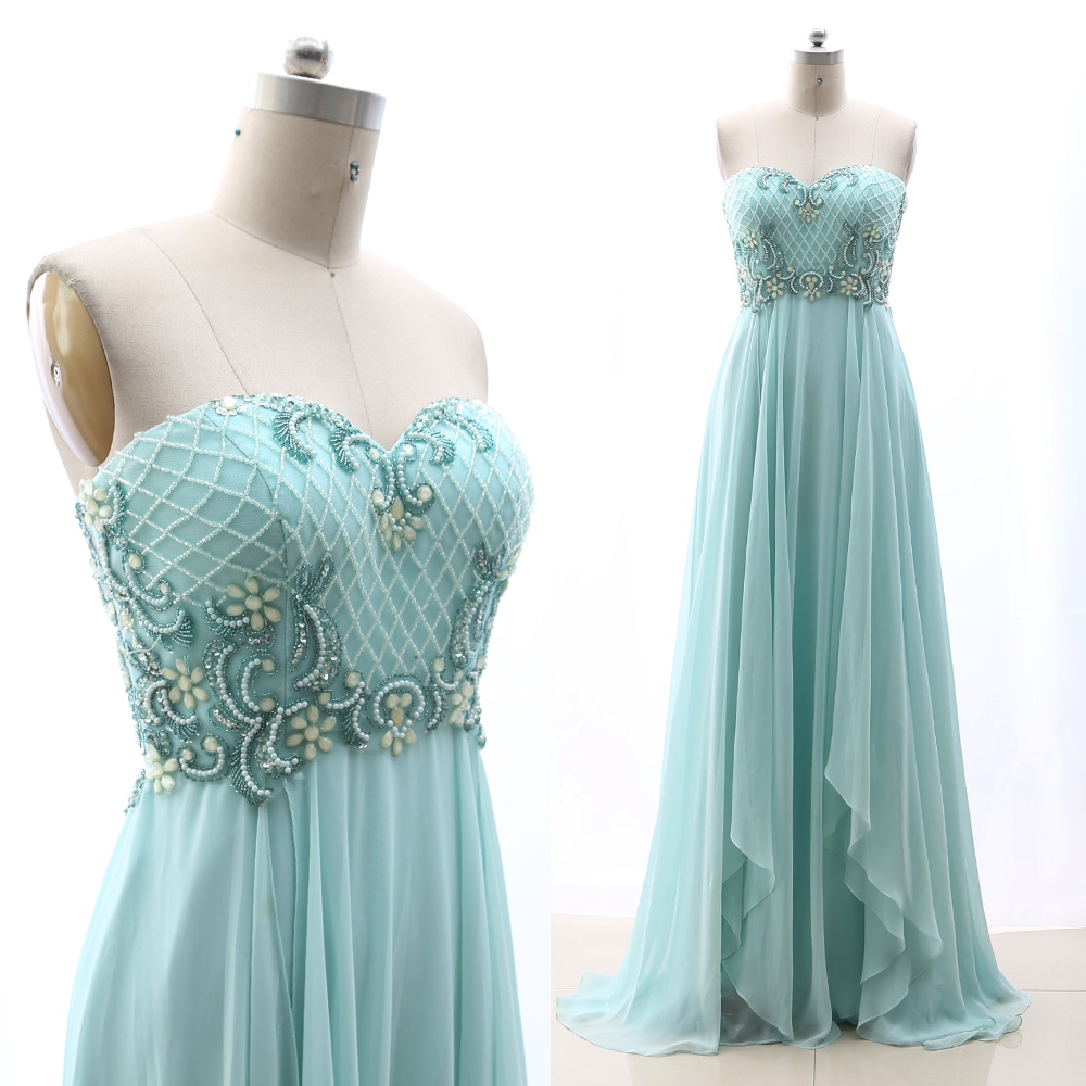 MACloth Sky Blue A-Line Strapless Floor-Length Long Crystal Tulle   Prom     Dresses     Dress   M 264907 Clearance
