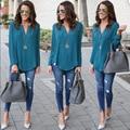Mulheres blusa chiffon v neck camisa 2017 solta longo-sleeved camisas pullovers ladies tops feminino blusa clothing lj8073c