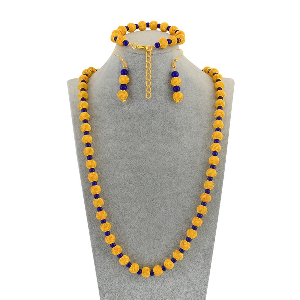 Африканский Золотой Цвет Четки бусины 77 см бусы ожерелье 23 см мяч браслеты серьги для женщин Ювелирные наборы для вечеринок # J0947