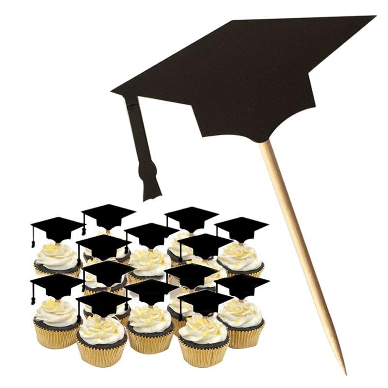 48Pcs Cake Topper Graduation Cap Cupcake Topper Party Cake ...
