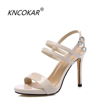 KNCOKAR 2018 Women's summer new leather style with a word buckle and a stylish waterproof platform fish mouth heel sandals