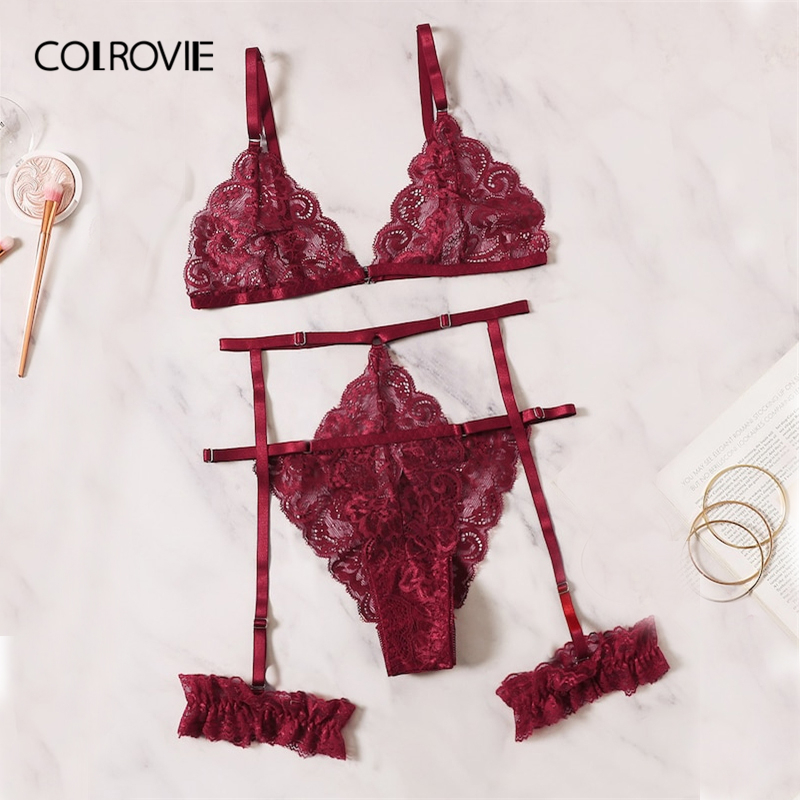 COLROVIE Burgundy Scalloped Trim Floral Lace Garter Sexy Lingerie Set 2019 Wireless Women Intimates Underwear Bra And Panty Set