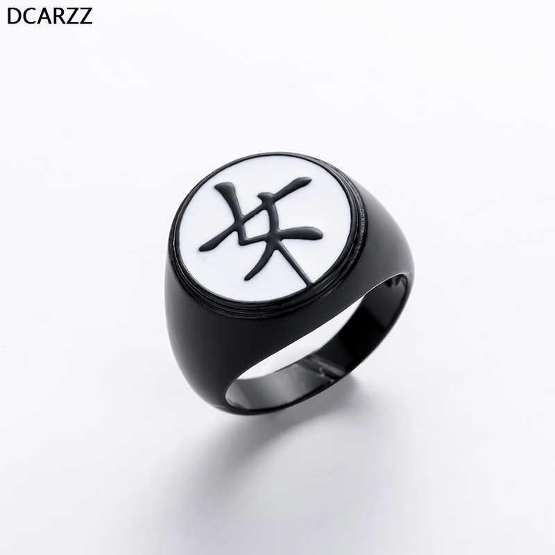 """Kagami משפחה של קרסט שחור טבעת Tsurugi Japenese קאנג 'י """"נשי"""" פרת משה רבנו וחתול נואר Kagami של טבעת עבור נשים אנימה תכשיטים"""