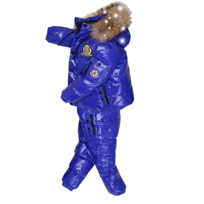 Image 3 -  30Degrees Russia Winter Ski Jumpsuit Children Clothing Boys Girls Sport Suit Kids Snow Wear Jackets coats Bib pants Waterproof-in Down & Parkas from Mother & Kids