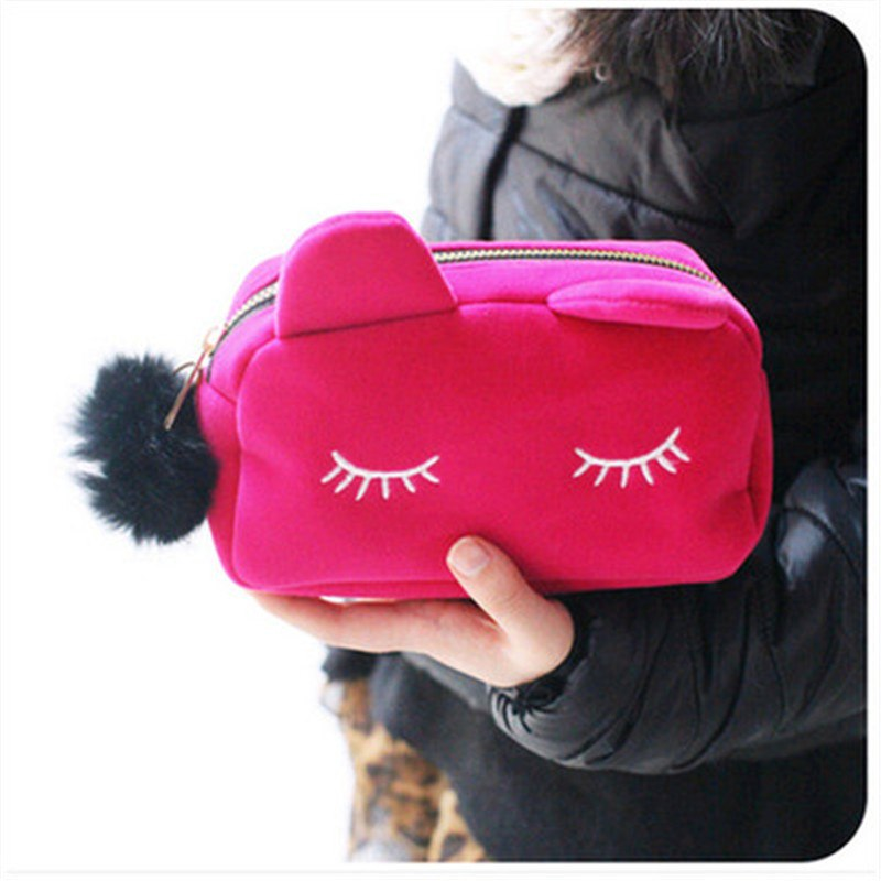 Puimentiua Cute Cat Cosmetic Bag Women Necessaire Make Up Bag Travel Portable Beauty Pouch Flannel Toiletry Kits For Women Girls