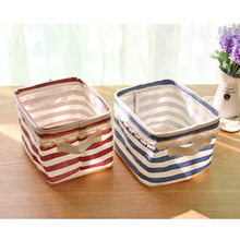 ZAKKA Grocery Stripe Clothes Storage Baskets Cotton Striped Lace Glove  Home clothes barrel Bags kids toy storage laundry basket