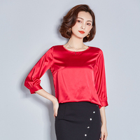 G308364 New Fashion 2018 Women O Neck Loose All Match Three Quarter Sleeve Basic Shirt Red Black T Shirt