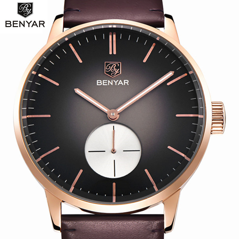Mens Watches Top Brand Luxury Sports Watches Men Benyar Fashion Clock Dress Men's Quartz Watch Male Hours 2017 Erkek Kol Saati business men dress watch mens fashion quartz watches analog calendar steel male wristwatches kicadn casual clock erkek kol saati