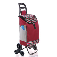 Six Wheel Folding Climbing Cart Portable Shopping Cart Quality Steel Pull Rod Trolley With 600D Oxford Cloth Shopping Bag