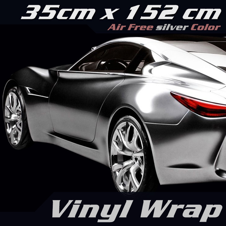 "15/""x60/"" SILVER CHROME MIRROR Vinyl Wrap Sticker Decal Sheet Air Bubble Free"