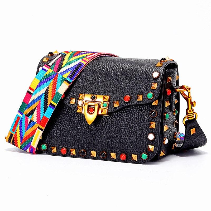 Brand women's Shoulder Bags Colored rivets Messenger bag Designer Genuine Leather Small package Designer Crossbody bag Female