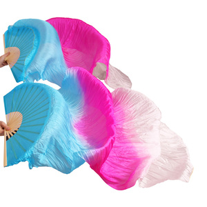 Image 5 - New Arrivals Stage Performance Dance Fans 100% Silk Veils Colored  Women Belly Dance Fan Veils (2pcs)  red+light red +white