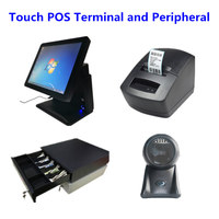 15 Touch Screen POS Termainal Machines Systems Cash Drawer 58mm Thermal Label & Receipt Printer 1D&2D Barcode Scanner Platform