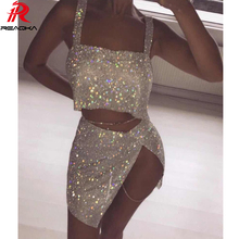 FREE SHIPPING 2018 Christmas Dress Metal Chain Crystal Diamonds Sequins Two Pieces JKP823