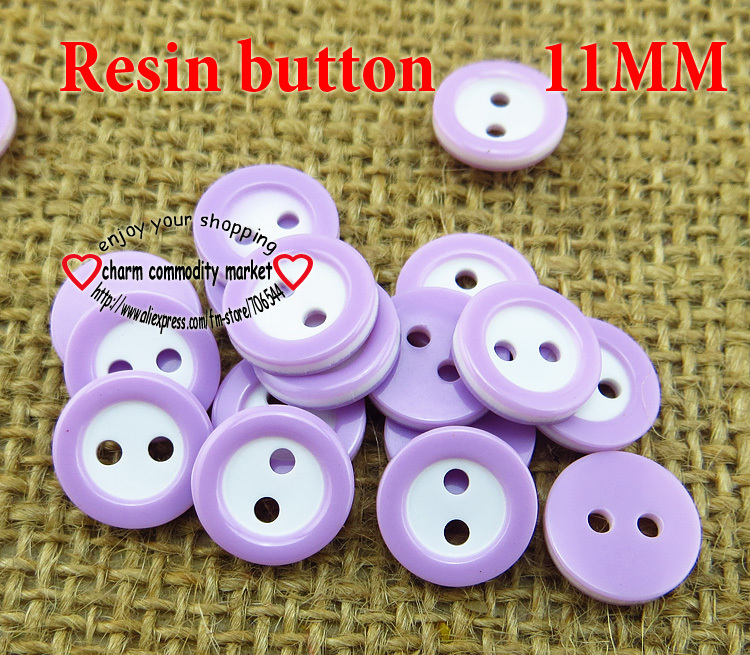 200PCS 11MM purple Dyed RESIN 2-Holes buttons coat boots sewing clothes accessories R-132-7