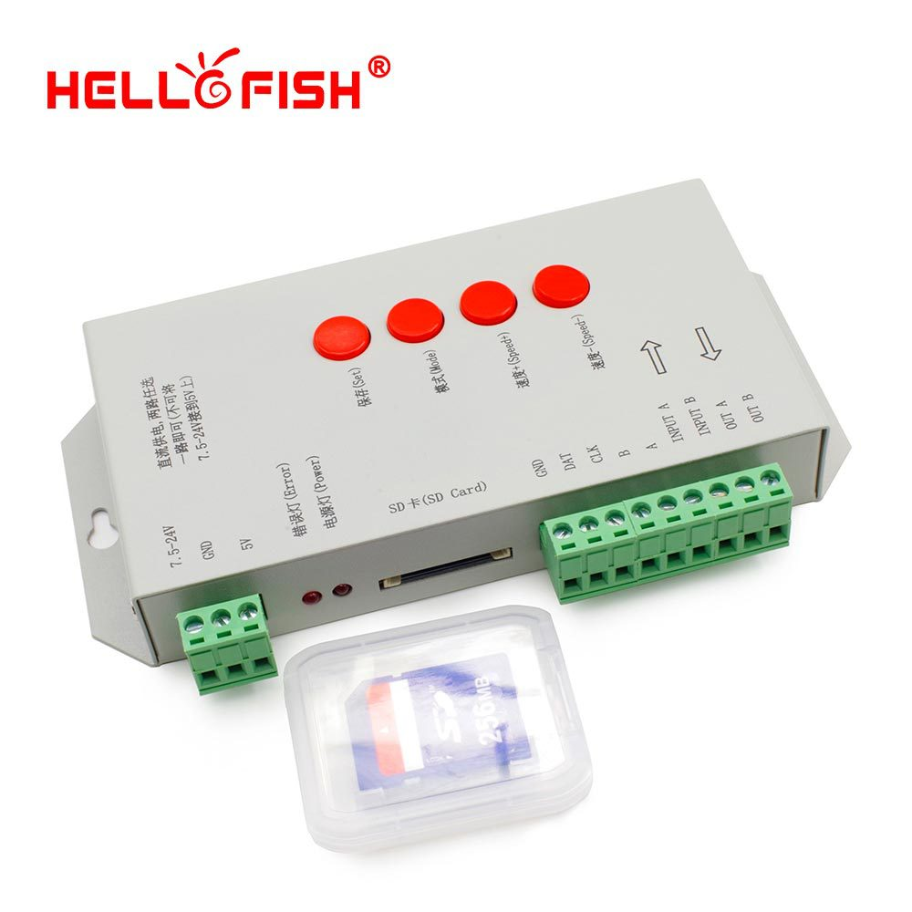 все цены на Hello Fish High Quality T-1000S 128M SD Card LED Pixel Controller, Full Color Controller for IC LPD6803/WS2801/WS2811/WS2812B онлайн