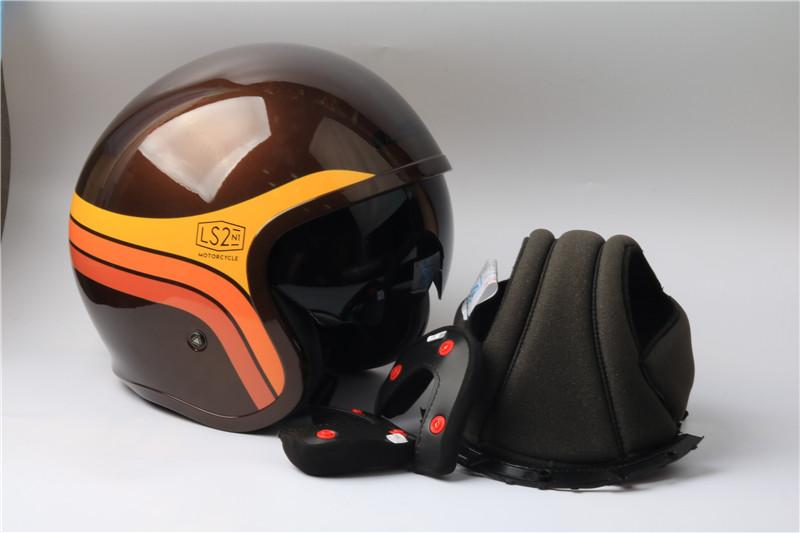 Ls2 Motorbike Helmet Jet Vintage Open Retro Half