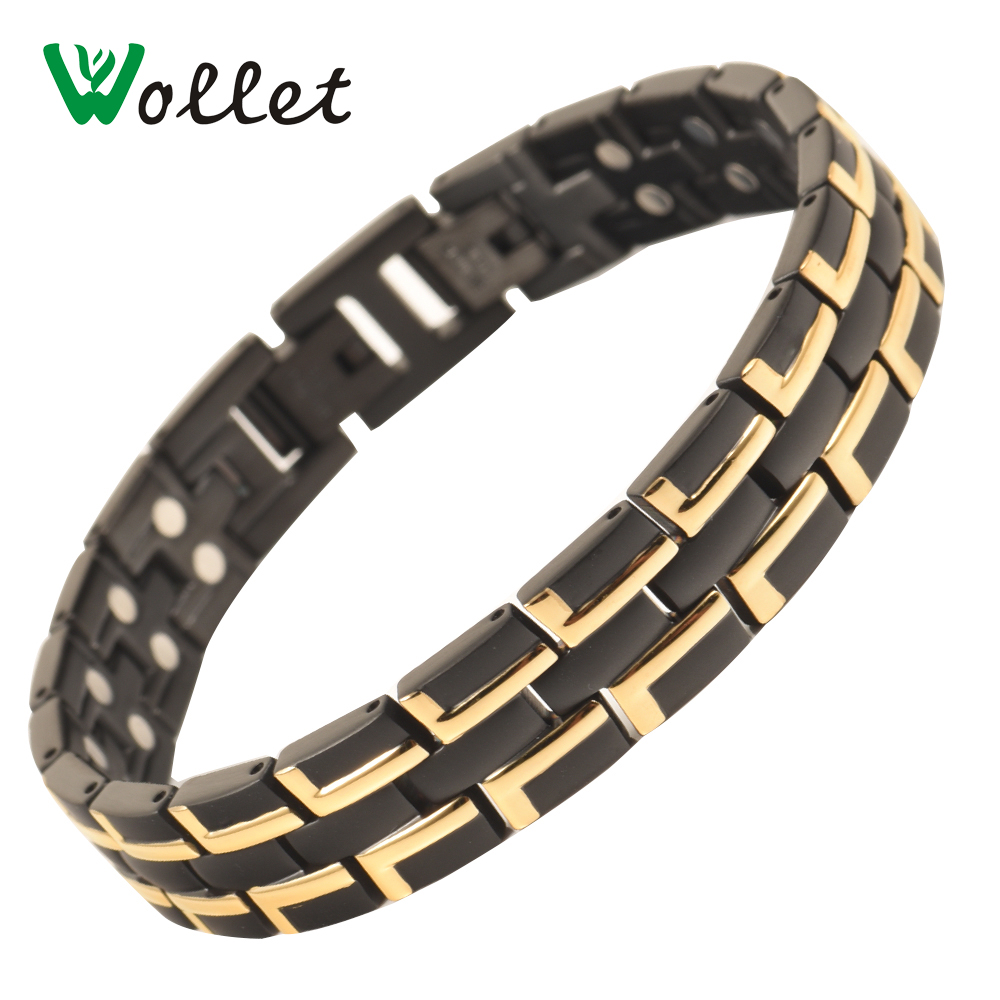 Wollet Jewelry Two Row Magnets Stainless Steel Magnetic Bracelet For Men Black And Gold Color Healing Energy Health Care