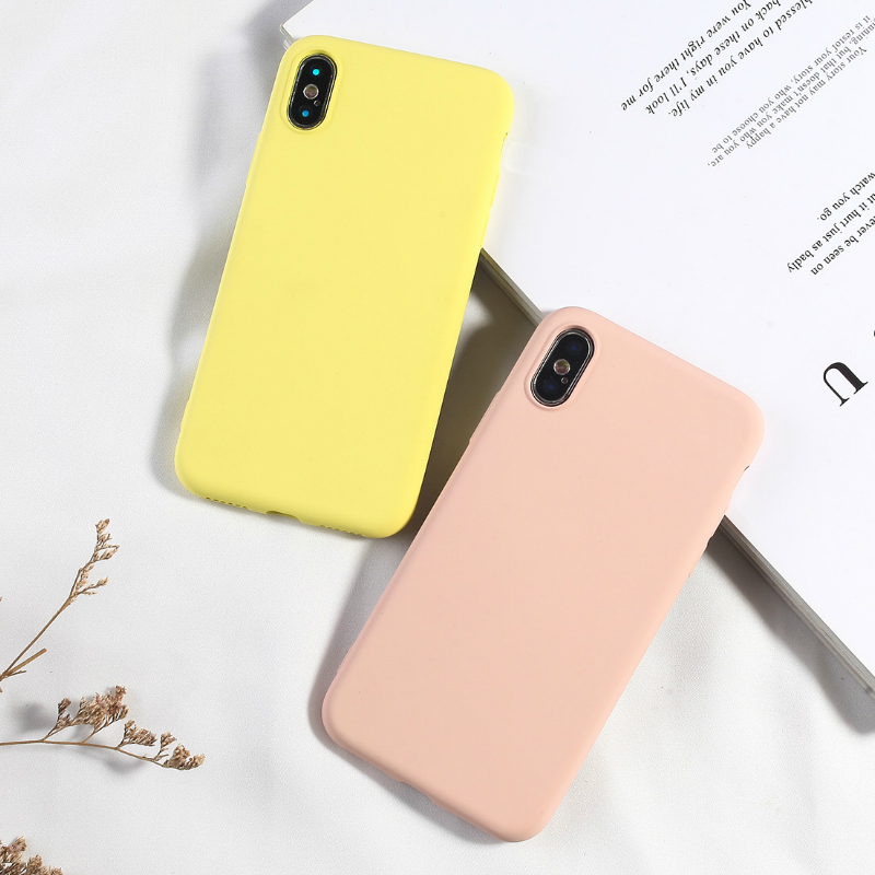 Candy Color Phone Case For iPhone 6 6s Plus XS XR XS MAX 7 8 Plus Covers For iPhone X Luxury Fashion Soft TPU Silicone Back Capa-in Fitted Cases from Cellphones & Telecommunications