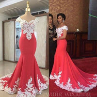Arabic Mermaid Evening Gowns White Lace Applique Off Shoulder Prom Party Dresses