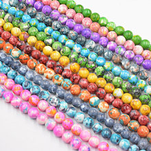 Natural Stone Colourful Dots Rainbow Stone Round Loose Beads Fit Diy Handmade Charms Spacer Beads for Jewelry Making Bracelet(China)