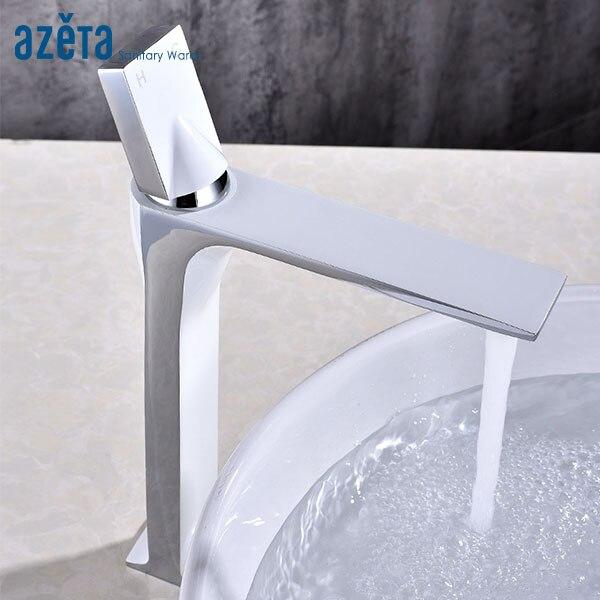 Style moderne salle de bains en laiton grand Chrome plaqué bassin mélangeur robinet lavabo mitigeur eau froide et chaude robinet AT9906H