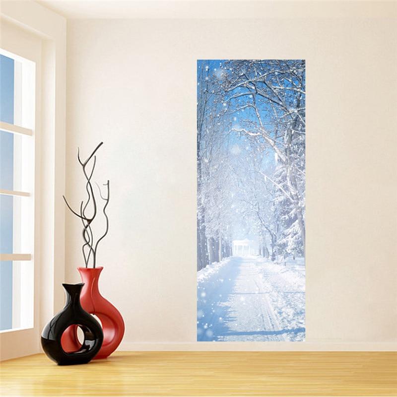 Winter Snow Door sticker Wall Stickers DIY Mural Bedroom Home Decoration 3D Wall Stickers Poster Door Stickers Wallpaper