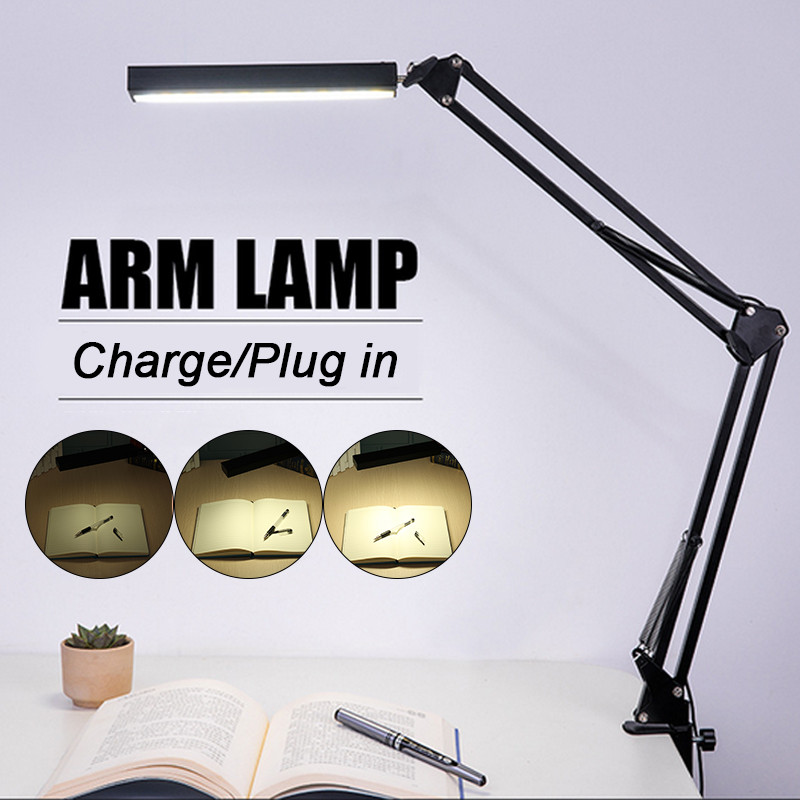 Smuxi Desk Lamp Long Arm Clip Office Led Desk Lamp Flexible Led Table Lamp Reading Led Light Free Dimming Brightness topoch dimmable reading lamp flexible arm 15% 100% brightness dimming 3x1w leds 300lm headboard study lighting 2 years warranty