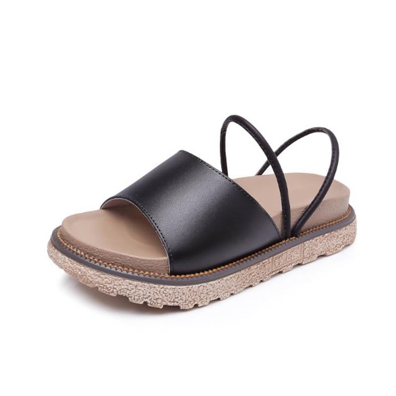 Gladiador 43 Flip Abramenko Plus Zapatos negro Toe Verano Sandalias Para Estilo Fondo De Beige Mujeres Grueso Peep Tamaño Flops OgwqOaA