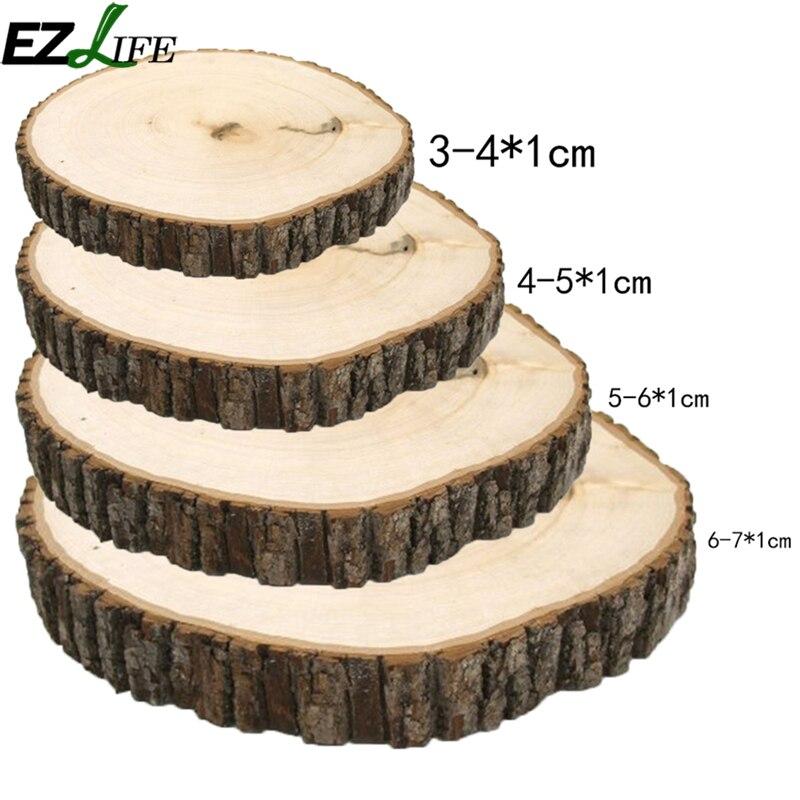 50 stücke Unfinished Rustikalen Natürliche Runde Holz Scheiben Kreise Mit Baumrinde Log Discs Für DIY Handwerk Hochzeit Decor LQW2891