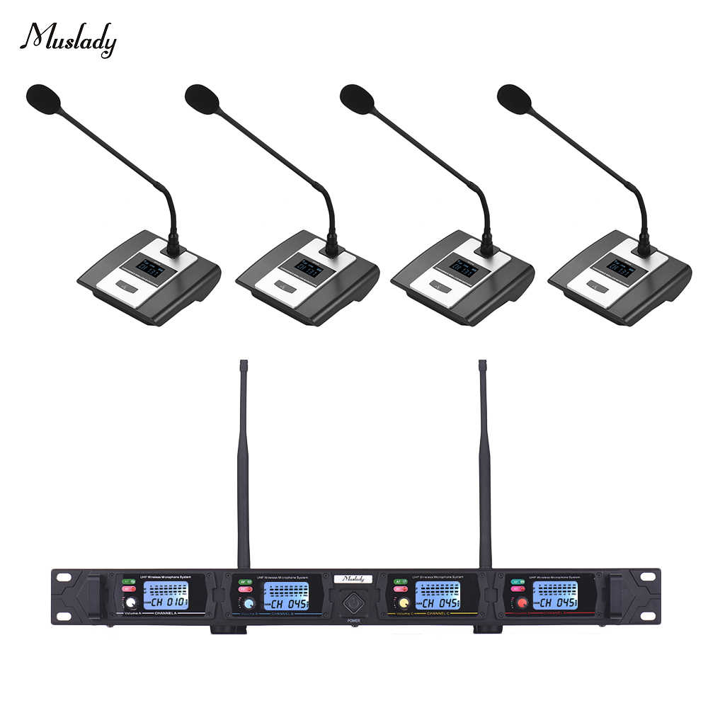 muslady d2 4 channel uhf wireless microphone conference microphone system with rack mount receiver 4 desktop mics