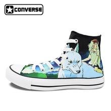 Индивидуальный дизайн ручной росписью обувь аниме Принцесса Мононоке волк замок в небо Холст кроссовки для мужчин и женщин Converse Брендовая обувь