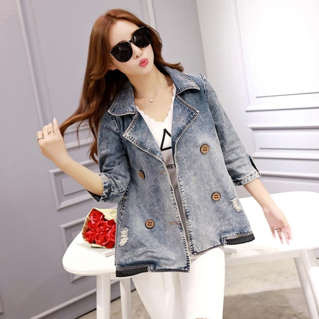 b35719eab75 Fashion Denim Jacket Women Spring Summer Basic Jacket Women Jeans Jacket  coats woman Casual Tops plus size women clothing