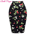 Belle Poque Summer Skirts Womens Pencil jupe courte Woman Short Cotton Sexy Bodycon Office 50s Vintage Floral Plus Size Skirt