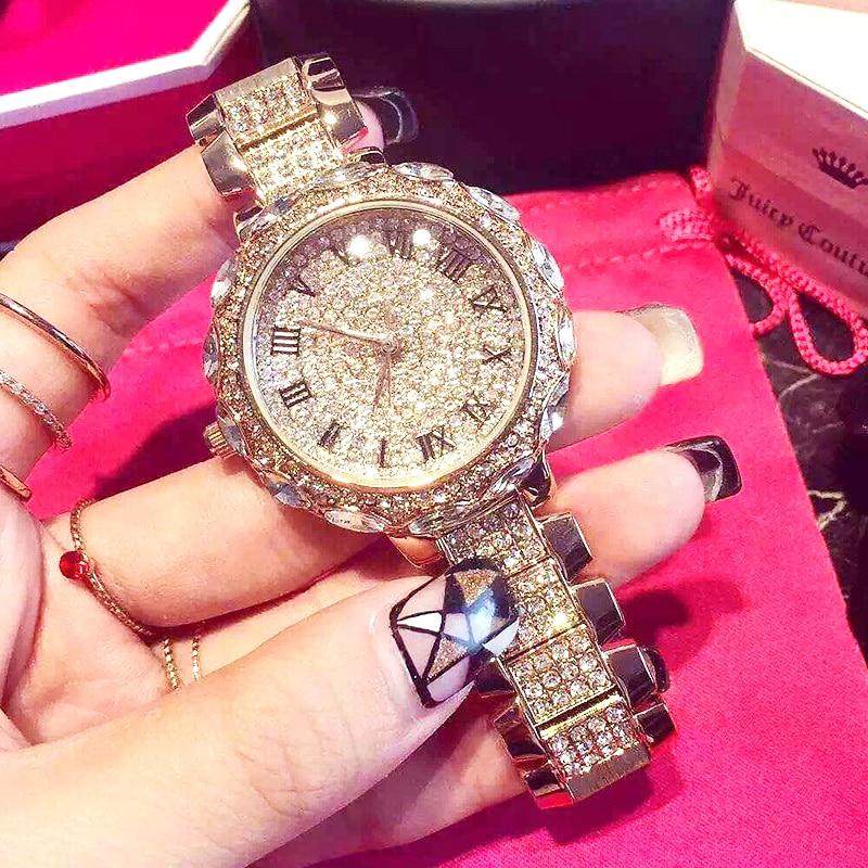 Ladies Watches full diamond stone Waterproof Large dial Roman Numerals Quartz wrist watch with diamond steel watchband