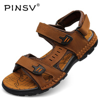 PINSV Genuine Leather Outdoor Shoes Beach Hiking Sandals Shoes Waterproof Summer Shoes Mens Summer Beach Shoes