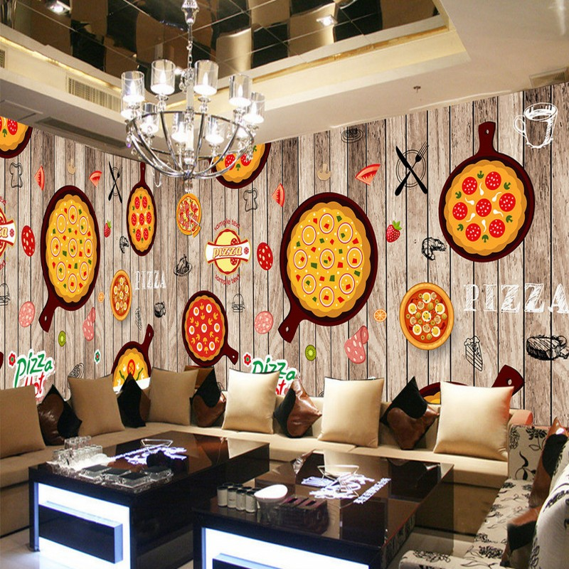 Decoration Interieur Snack Wallpaper 3d Hand Painted Western Restaurant Wooden Pizza
