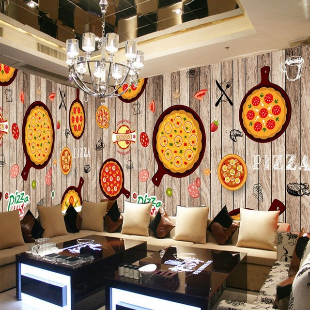 wallpaper 3d Hand painted western restaurant wooden pizza decoration ...