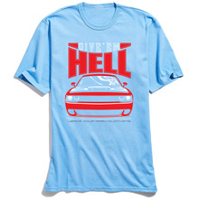Car Printed T-shirt Give Them Hell Men's T Shirts Rife Driver Tshirt Summer Blue O-Neck 100% Cotton Tops Tees Custom Streetwear цена